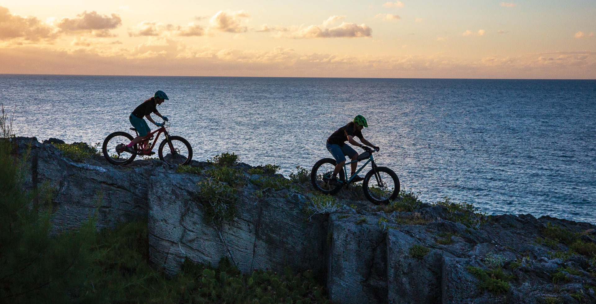 Not much beats cliffside sunset riding in Bermuda. James Holloway shows Brigid Mander some of the local goods.