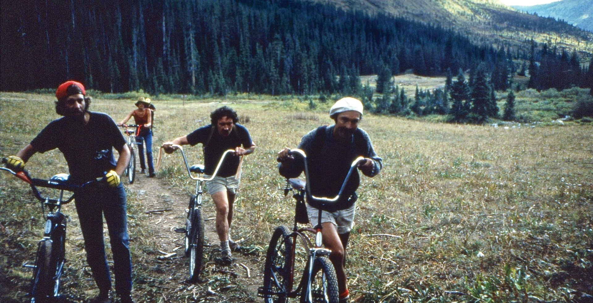 Albert Maunz, Bob Starr, Jim Cloud and a local Crested Butte woman arriving at Cumberland Basin Camp, in September of 1978.
