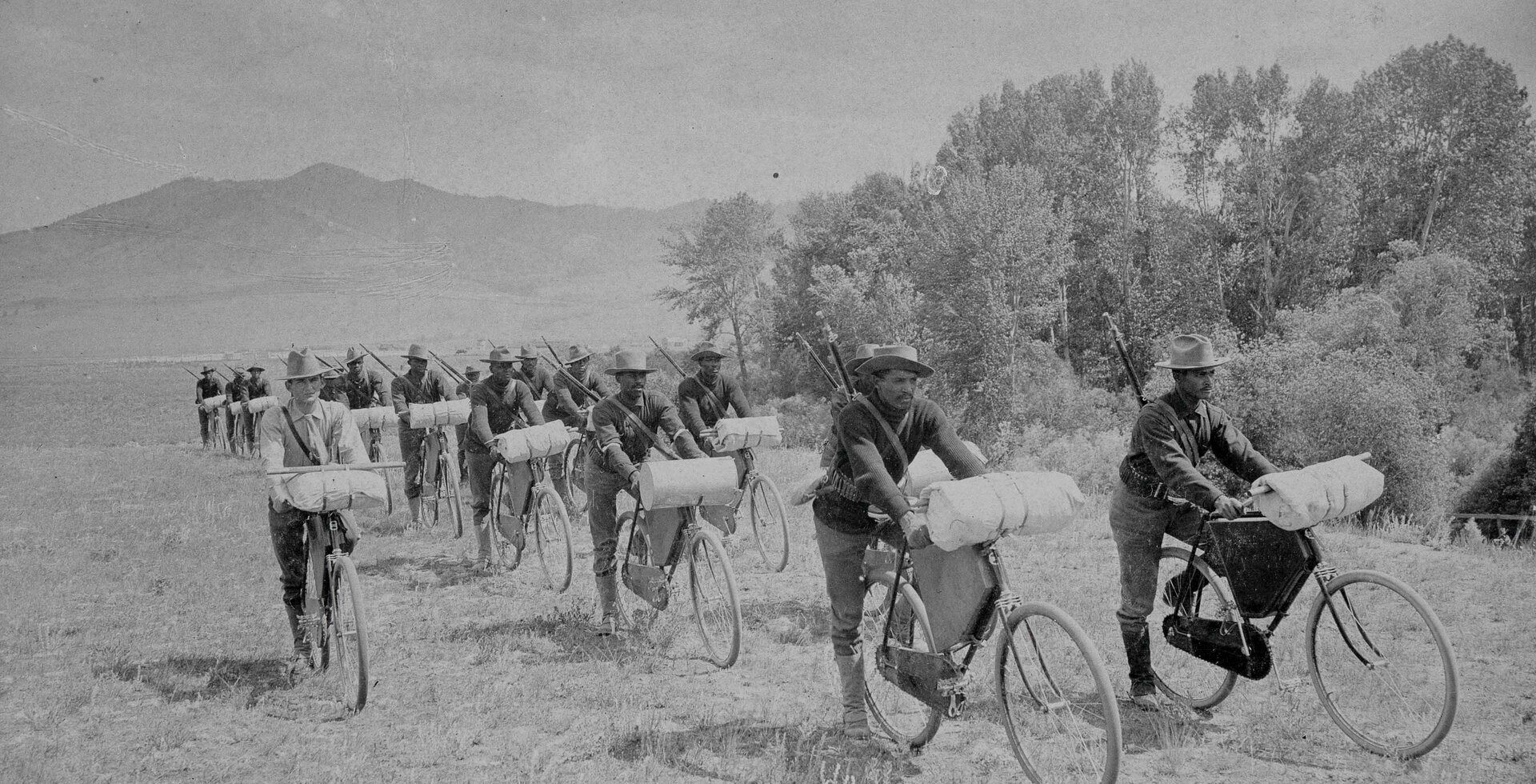 You don't need high-tech to be ahead of the time. Soldiers from the 25th Infantry Regiment push their fully loaded bikes outside of Fort Missoula, MT in 1897. The man on the far left is Lt. James A. Moss, who would join the 25th in Cuba a year later during the Spanish-American War. Photo: Frank M. Ingalls