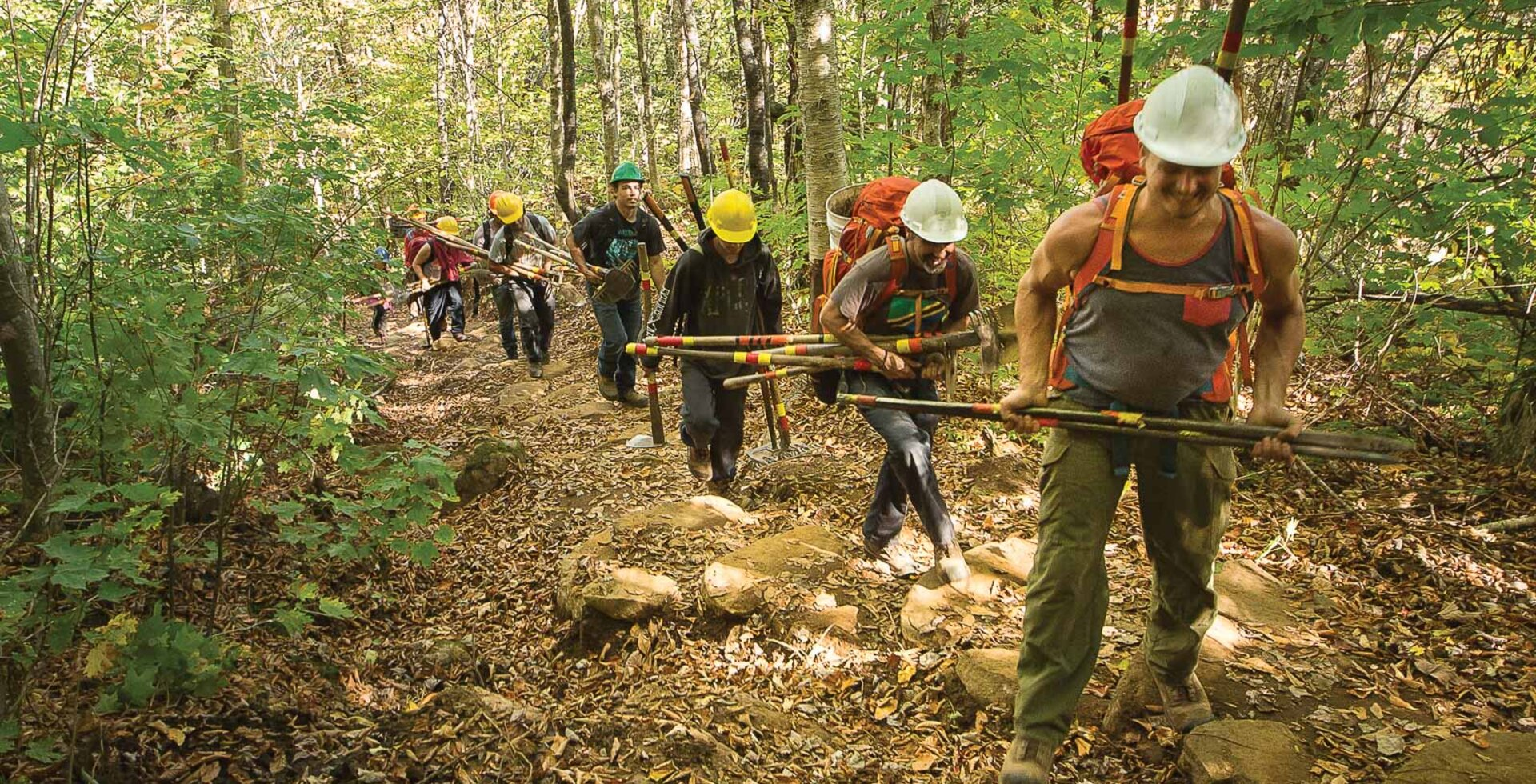 Through trailbuilding, Projet Jeunesse helps young adults overcome the troubles of their past while teaching them valuable skills and providing meaningful work. More than 200 participants have taken part since its inception in 2002, many of whom return to school or work after completing the six-month program. Photo: Claude Côté