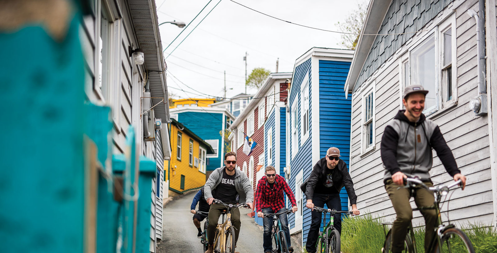 With a small but dedicated scene of mountain bikers in St. John's, the crew runs deep. After a week of riding the island's singletrack, Chris Jerrett, Lachlan Roe-Bose, Mike Trickett, Kaelam Power and Matt Beer (left to right) take to the streets of the Battery for some good old-fashioned hill bombing.