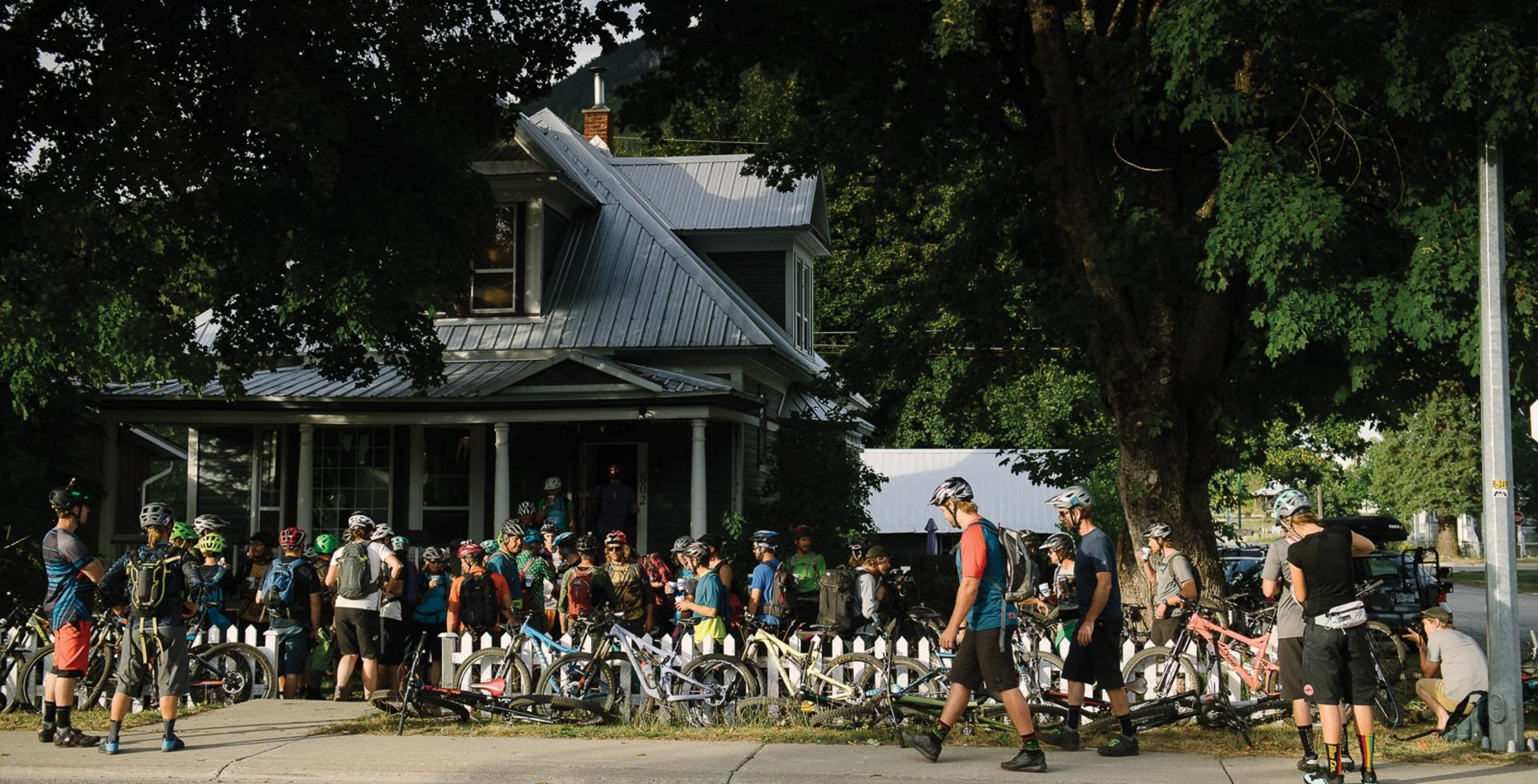 Mojito bars aren't a typical stop on Pedal and Pint rides, but they're always a good idea. Riders enjoy some free refreshments at the house of Karl Guillote, a recent Revelstoke resident and Pedal and Pint regular.