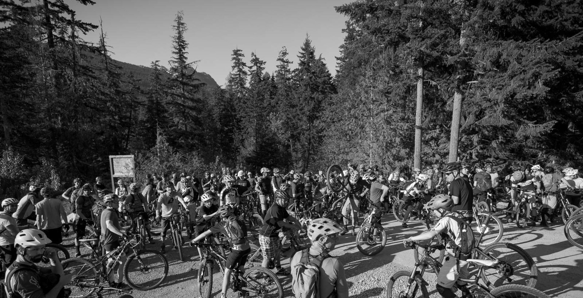 A crowd of two- to three-hundred mountain bikers isn't an uncommon sight at a Toonie race these days. It's far from the ride's humble beginnings, but a testimony to the community it has built. Photo courtesy of Tourism Whistler / Justa Jeskova
