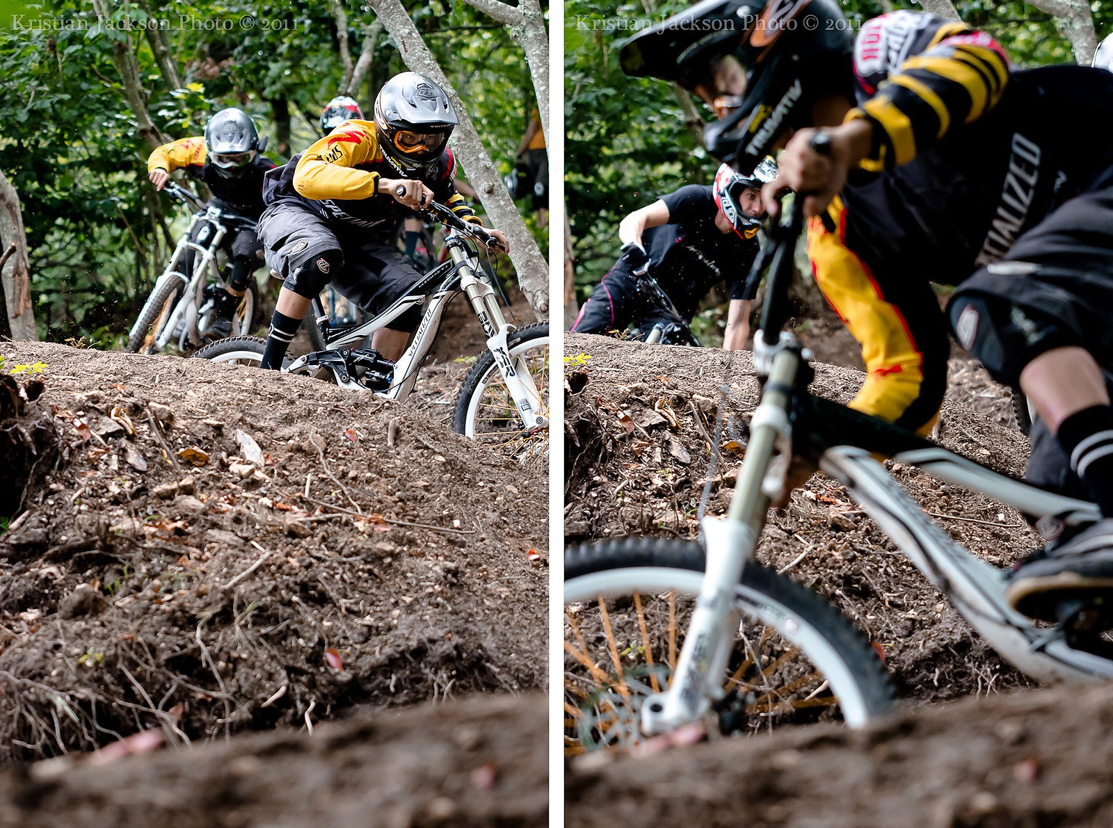 The Shaw brothers deep in the Amateur Track berms.