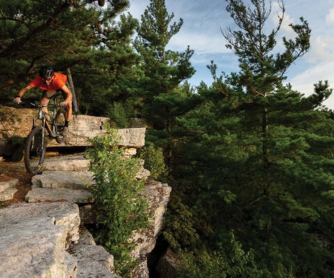 Harrisonburg's abundance of technical terrain breeds a certain type of rider. Charlie Snyder drops into the overlook on Bird Knob in the northeastern quadrant of the George Washington National Forest.