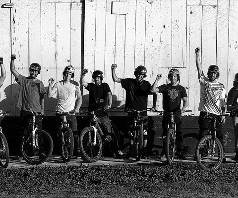 If any one place can show the power of community, look no further than the Aptos Post Offi ce jumps. The jumps may no longer exist, but their legacy forever lives on in everyone who spent time there. A few of the Post Office's most notorious regulars. Photo courtesy of Anthill Films