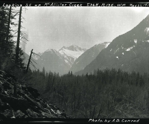 McAllister Creek is south of Diablo Lake and nearly smack in the center of the North Cascades, and provides stunning views of the snow-capped peaks beyond. But while there is still year-round ice on many of the North Cascade summits, photo comparisons from the 100-plus years since this image was taken show those glaciers are rapidly disappearing.  Photo: Courtesy of the National Park Service, North Cascades NPS Complex Museum Collection