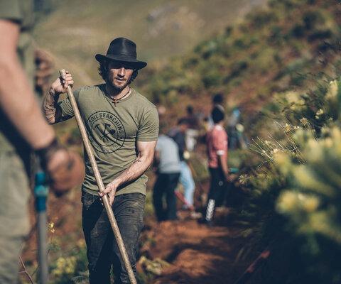 Fanie Kok, in the dirt and in his element in Stellenbosch, South Africa. Photo: Johan Badenhorst