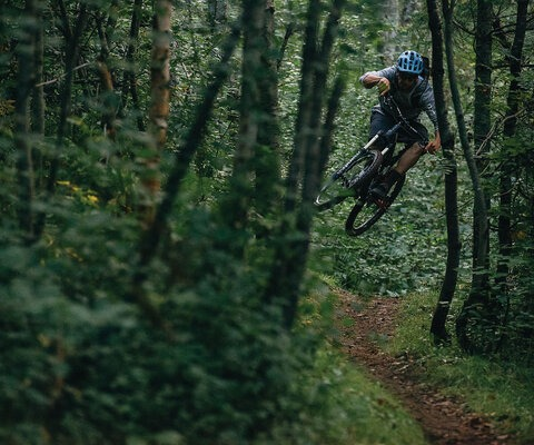 A trail is what you make of it, and Eric Porter is a professional at finding every inch of fun, wherever he's riding. Porter sends an alternative line on one of Swedetown's many XC trails.