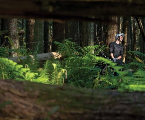 While her hometown trails in Squamish, BC make for a top-notch training ground, they also provide much-needed relaxation from the intensity of the World Cup circuit. Miranda Miller enjoys some sunshine in the BC backwoods. Photo: Reuben Krabbe