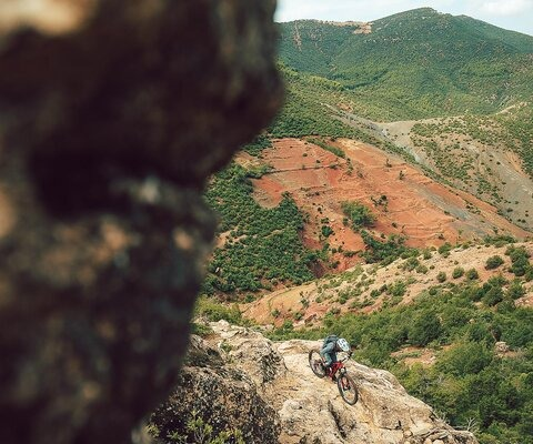 The terrain of the Atlas Mountains has a unique resemblance to parts of Utah, Arizona and Colorado. Immersed the red, orange and yellow hues of the landscape, Leilani Bruntz keeps her eyes on the trail.
