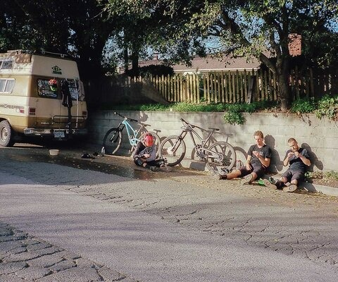 Sore legs, snack deficiencies and total disregard for proper seating. Mark Taylor and Brian Haffner work on their waistlines after a death march in Santa Cruz, CA.