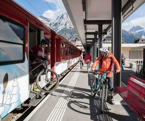 Not the average shuttle vehicle—at least by U.S. standards. Patric Bernhard steps off the train in Engelberg as he and Johan Jonsson debate whether they've got time for one more lap.