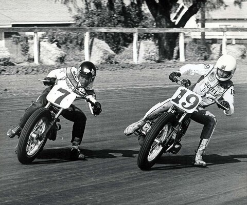 Mert Lawwill (left) doing what he does best: keeping the throttle wide open and the bike sideways. In his 15-year racing career, he stacked up 161 AMA Grand National finishes, including 15 wins. Photo courtesy of the American Motorcyclist Association