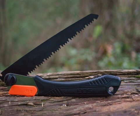 SOG's folding saw is the perfect compact tool for impromptu trail maintenance, whether it's getting rid of branches or clearing small logs.